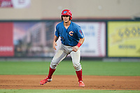 Clearwater Threshers Nick Matera (7) leads off during a Florida State League game against the Palm Beach Cardinals on August 9, 2019 at Roger Dean Chevrolet Stadium in Jupiter, Florida.  Palm Beach defeated Clearwater 3-0 in the second game of a doubleheader.  (Mike Janes/Four Seam Images)