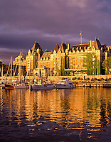 F00116M.tiff   Sunset on Empress Hotel with harbor and boats. Victoria, British Columbia, Canada