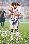 Real Madrid Nacho Fernandez and his kids during the celebration of the 13th UEFA Championship at Santiago Bernabeu Stadium in Madrid, June 04, 2017. Spain.<br /> (ALTERPHOTOS/BorjaB.Hojas)