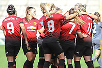 Ella Toone (Manchester United Women) celebrates after scoring during the English Womens Championship match between Manchester United Women and Leicester City Women at Leigh Sports Village, Leigh, England on 10 March 2019. Photo by James Gill / PRiME Media Images.
