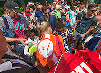 Paris, France, 22 June, 2016, Tennis, Roland Garros, Kiki Bertens (NED) posing with fans after her match<br /> Photo: Henk Koster/tennisimages.com