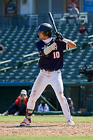 Marcelo Mayer (10) bats during the Baseball Factory All-Star Classic at Dr. Pepper Ballpark on October 4, 2020 in Frisco, Texas.  Marcelo Mayer (10), a resident of Chula Vista, California, attends Eastlake High School.  (Mike Augustin/Four Seam Images)