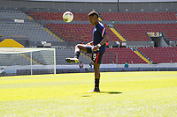 GUADALAJARA, MEXICO - MARCH 18: Andres Perea #15 of the United States warming up before a game between Costa Rica and USMNT U-23 at Estadio Jalisco on March 18, 2021 in Guadalajara, Mexico.