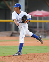 July 22, 2009: RHP Deybi De La Cruz (64) of the Burlington Royals, rookie Appalachian League affiliate of the Kansas City Royals, in a game at Burlington Athletic Stadium in Burlington, N.C. Photo by: Tom Priddy/Four Seam Images