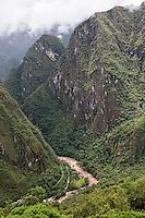 Peru, Machu Picchu.  Urubamba River as seen from the Ruins.