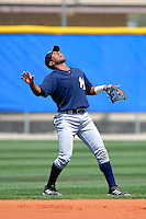 New York Yankees minor league second baseman Angelo Gumbs #21 during a Spring Training game against the Toronto Blue Jays at the Englebert Complex on March 19, 2013 in Dunedin, Florida.  (Mike Janes/Four Seam Images)
