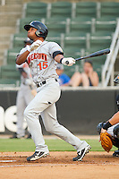 Marcus Jones #15 of the Hagerstown Suns follows through on his swing against the Kannapolis Intimidators at Fieldcrest Cannon Stadium August 10, 2010, in Kannapolis, North Carolina.  Photo by Brian Westerholt / Four Seam Images