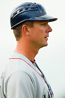 Lakewood BlueClaws manager Chris Truby #35 coaches third base during the South Atlantic League game against the Kannapolis Intimidators at Fieldcrest Cannon Stadium on July 16, 2011 in Kannapolis, North Carolina.  The Intimidators defeated the BlueClaws 5-3.   (Brian Westerholt / Four Seam Images)