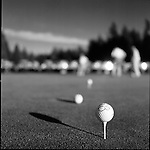 """In Samamish, Washington at the Sahalee Country Club members participate in the Member Guest yearly mens golf tournament. A putting contest takes place where to qualify you have to put the ball closet to the pin. Winning length was 1/4"""". Also in the winning pool is a brand new Jaguar on a hole in one. Members enjoyed a gold rush on the first day of play. A drink cart was on the course serving everything from Jack and coke to margaritas and cervezas. An awards presentation was on the final night of play where flight winners received a trophy plus the winners of the tournament won a blue blazer with embroidered winners patch. Plenty of money was wagered by the members. During the final dinner of the tournament guests danced, drank chilled drinks on ice and enjoyed the warm seattle weather."""