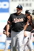 Norfolk Tides coach Brad Komminsk #49 during a game against the Rochester Red Wings at Frontier Field on June 5, 2011 in Rochester, New York.  Norfolk defeated Rochester 11-5 in eleven innings.  Photo By Mike Janes/Four Seam Images