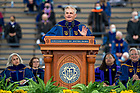May 23, 2021;  Commencement speaker Jimmy Dunne delivers his address during the 176th Commencement Ceremony at Notre Dame Stadium. (Photo by Barbara Johnston/University of Notre Dame)