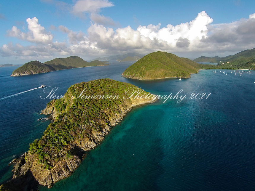 Aerial view of Whistling Cay<br /> U.S. Virgin Islands