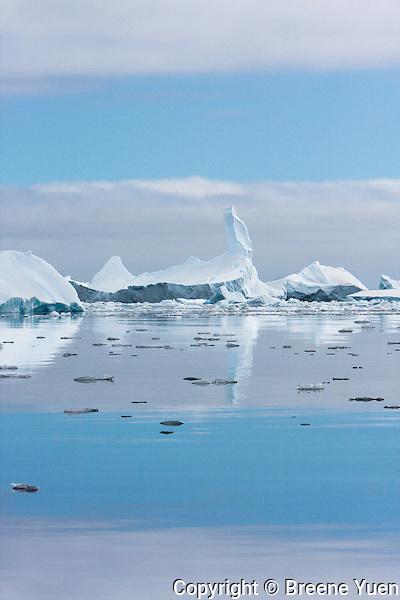 Ice Formation and Reflecting Sky near Pleneau Island, Antarctica