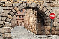 Stone arch and cobble stone street , Segovia, Spain