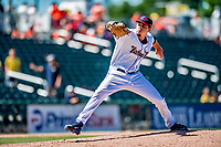 18 July 2018: New Hampshire Fisher Cats pitcher Tayler Saucedo on the mound against the Trenton Thunder at Northeast Delta Dental Stadium in Manchester, NH. The Fisher Cats defeated the Thunder 3-2 in a 7-inning, second game of the day. Mandatory Credit: Ed Wolfstein Photo *** RAW (NEF) Image File Available ***
