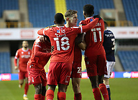 Nottingham Forest players celebrating their first goal during Millwall vs Nottingham Forest, Sky Bet EFL Championship Football at The Den on 19th December 2020