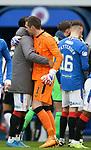 06.03.2021 Rangers v St Mirren: Allan McGregor embraces Alfredo Morelos