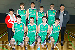 St Brendans U18 basketball team v KCYMS Killorglin in the Kerry Airport KABB Basketball final in the Sports Complex on Saturday. Peter Kerins, Cian Devine, Gearoid Coffey and Jack Burke.<br /> Standing l to r: Elaine Burrows Dillane (Coach), Tadgh O'Connor, Rap Buivydas, James Fernane, Jack Tobin and Liam O'Dowd (Coach).