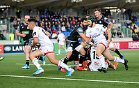 Saturday 14th September 2019 | Glasgow vs Ulster  <br /> <br /> James Hume races clear to score during the second pre-season friendly between Ulster and Glasgow at Scotstoun Stadium, Glasgow, Scotland. Photo by John Dickson / DICKSONDIGITAL