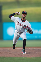Hickory Crawdads starting pitcher Dillon Tate (17) in action against the Kannapolis Intimidators at Kannapolis Intimidators Stadium on April 8, 2016 in Kannapolis, North Carolina.  The Crawdads defeated the Intimidators 8-2.  (Brian Westerholt/Four Seam Images)