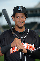 Jupiter Hammerheads outfielder Yefri Perez (12) poses for a photo before a game against the Bradenton Marauders on April 18, 2015 at McKechnie Field in Bradenton, Florida.  Bradenton defeated Jupiter 4-1.  (Mike Janes/Four Seam Images)