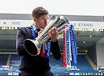 15.05.2021 Rangers manager Steven Gerrard kisses the Scottish Premiership trophy after leading his team through an unbeaten league campaign