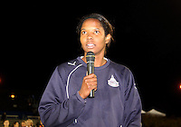 Briana Scurry #1 of the Washington Freedom addresses the fans after announcing her retirement during a WPS match against the Atlanta Beat at Maryland Soccerplex on September 11 2010, in Boyds, Maryland. Freedom won 1-0.