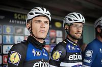 Marcel Kittel (DEU/Etixx-Quickstep) next to teammate Tom Boonen (BEL/Etixx-QuickStep) on the start podium<br /> <br /> 104th Scheldeprijs 2016