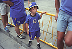 Young football fan arrives at Boca Junior team stadium Buenos Aires Argentina South America 2000s 2002