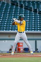 AZL Athletics designated hitter Lazaro Armenteros (28) bats during a game against the AZL Cubs on August 9, 2017 at Sloan Park in Mesa, Arizona. AZL Athletics defeated the AZL Cubs 7-2. (Zachary Lucy/Four Seam Images)