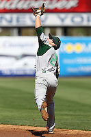 USF Bulls second baseman Luis Llerena #2 catches a pop up during a scrimmage against the New York Yankees at Steinbrenner Field on March 2, 2012 in Tampa, Florida.  New York defeated South Florida 11-0.  (Mike Janes/Four Seam Images)