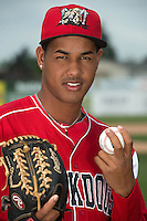 Batavia Muckdogs pitcher Felix Ramos (30) poses for a photo during media day on June 10, 2014 at Dwyer Stadium in Batavia, New York.  (Mike Janes/Four Seam Images)