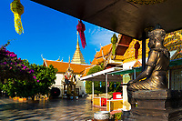 Wat Phra That temple, beautiful terrace and colorful gardens in Doi Suthep mountains near Chiang Mai Thailand, Southeast Asia