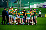 Kerry manager Fintan O'Connor talks to the Kerry team during the Joe McDonagh hurling cup fourth round match between Kerry and Carlow at Austin Stack Park on Saturday.