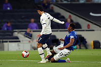 Yerry Mina of Everton and Son Heung-Min of Tottenham Hotspur during Tottenham Hotspur vs Everton, Premier League Football at Tottenham Hotspur Stadium on 6th July 2020
