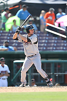 Nick Shulz (25) of the Lake Elsinore Storm bats during a game against the Inland Empire 66ers at San Manuel Stadium on May 27, 2015 in San Bernardino, California. Lake Elsinore defeated Inland Empire, 12-9. (Larry Goren/Four Seam Images)