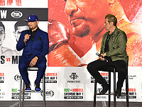 LOS ANGELES, CA - APRIL 28: Chris Arreola and trainer Joe Goossen attend the press conference for the Andy Ruiz Jr. vs Chris Arreola Fox Sports PBC Pay-Per-View in Los Angeles, California on April 28, 2021. The PPV fight is on May 1, 2021 at Dignity Health Sports Park in Carson, CA. (Photo by Frank Micelotta/Fox Sports/PictureGroup)
