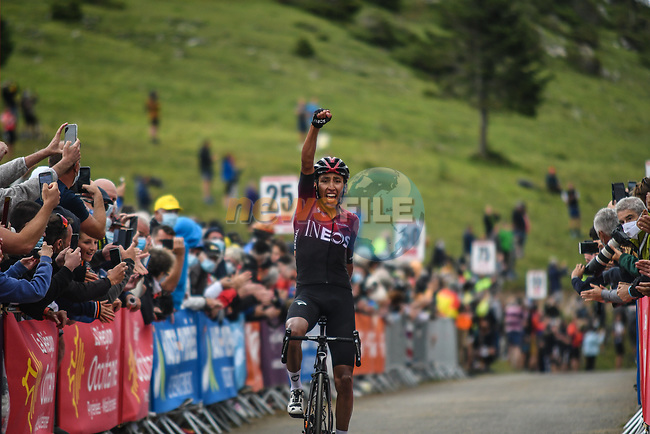 Egan Bernal (COL) Team Ineos wins Stage 3 of the Route d'Occitanie 2020, running 163.5km from Saint-Gaudens to Col de Beyrède, France. 3rd August 2020. <br /> Picture: Colin Flockton   Cyclefile<br /> <br /> All photos usage must carry mandatory copyright credit (© Cyclefile   Colin Flockton)