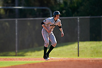 Dartmouth Big Green Ben Rice (9) leads off during a game against the Omaha Mavericks on February 23, 2020 at North Charlotte Regional Park in Port Charlotte, Florida.  Dartmouth defeated Omaha 8-1.  (Mike Janes/Four Seam Images)