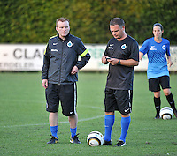 20130830 - VARSENARE , BELGIUM : Brugge's coaches  pictured with  Filip Wydock (left) and Karel Gobert (middle) during the female soccer match between Club Brugge Vrouwen and Ajax Amsterdam Dames , of the first matchday in the BENELEAGUE competition. Friday 30 August 2013. PHOTO DAVID CATRY
