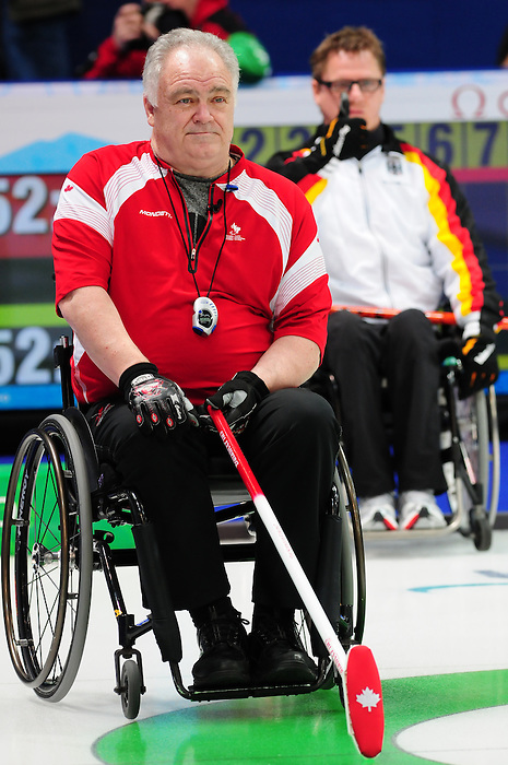 Jim Armstrong, Vancouver 2010 - Wheelchair Curling // Curling en fauteuil roulant.<br /> Team Canada competes in Wheelchair Curling // Équipe Canada participe en curling en fauteuil roulant. 17/03/2010.
