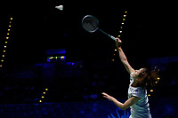 14th March 2020, Arena Birmingham, Birmingham, UK; Japans Okuhara Nozomi competes during the womens singles semifinal match between Chinas Chen Yufei and Japans Okuhara Nozomi at All England Badminton 2020 in Birmingham