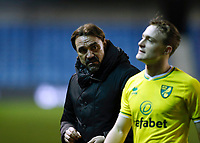 2nd February 2021; The Den, Bermondsey, London, England; English Championship Football, Millwall Football Club versus Norwich City; Norwich City Manager Daniel Farke speaks to Oliver Skipp of Norwich City while the pair walk off the pitch towards the away tunnel after the final whistle