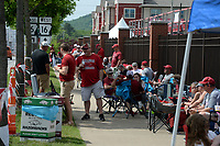 University of Arkansas baseball fans visit Friday, June 4, 2021, while lining up along Razorback Road hours before the gates open to see the Razorbacks' game with New Jersey Institute of Technology in the first round of the Fayetteville Regional at Baum-Walker Stadium in Fayetteville. The Regional continues today. Visit nwaonline.com/210605Daily/ for today's photo gallery.<br /> (NWA Democrat-Gazette/Andy Shupe)