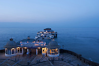 Cromer Pier and the North Sea at dusk, Norfolk, England.