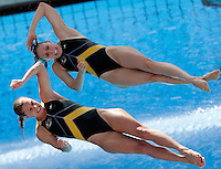 Australia's Briony Cole and Sharleen Stratton compete in the women 3-meter synchro springboard diving finals at the Swimming World Championships in Rome, 24 July 2009. .UPDATE IMAGES PRESS/Riccardo De Luca