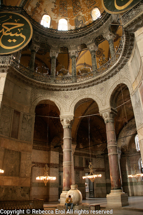 Tourist at the Hagia Sophia in Istanbul, Turkey