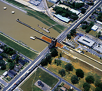 aerial photograph of a barge moving through the Industrial Canal Lock, New Orleans,  Louisiana