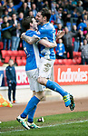 St Johnstone v Dundee…11.03.17     SPFL    McDiarmid Park<br />Blair Alston celebrates his goal with Paul Paton<br />Picture by Graeme Hart.<br />Copyright Perthshire Picture Agency<br />Tel: 01738 623350  Mobile: 07990 594431