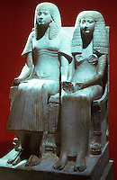 World Civilization:  Thebes--Limestone Pair, Statue of a Couple. 18th Dynasty, c. 1350 B.C.  The Trustees of the British Museum.